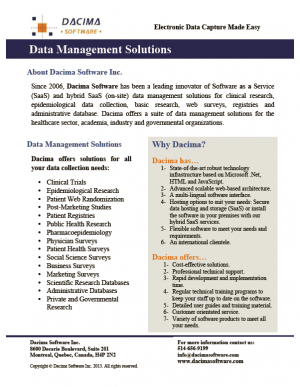 Dacima Data Management Brochure