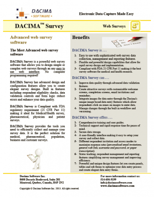 Dacima Survey Brochure